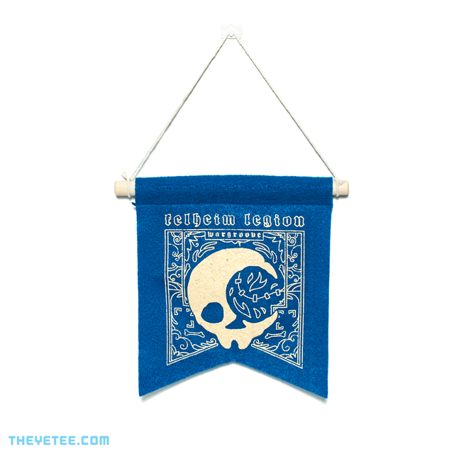 Blue Felheim banner on wooden dowel with string for hanging. - Felheim Banner