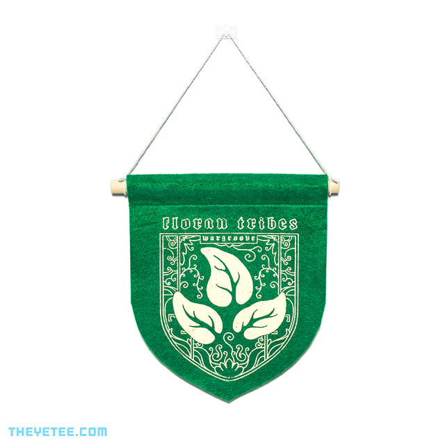 Green Floran banner on wooden dowel with string for hanging. - Floran Banner