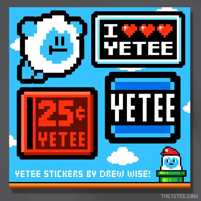 "Four Yetee themed stickers to put wherever you want! Included is an arcade quarter-slot, a flying Yetee, and a classic "" I heart Yetee"" sticker. - Super Yetee Land Stickers"