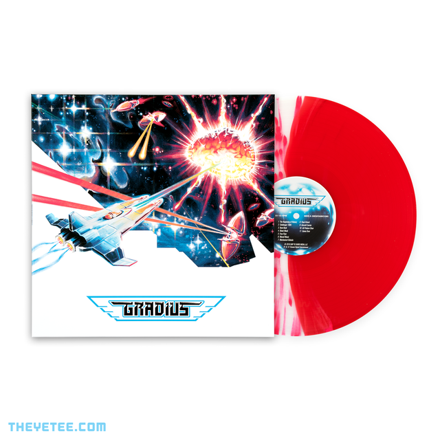 Side by side photo of the sleeve and vinyl. Vinyl pressed on split splatter transparent red wax. - Gradius