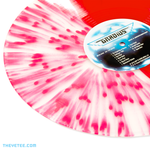 Close up of split splatter transparent red vinyl. - Gradius