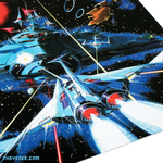 Close up of the insert with one side featuring original GRADIUS artwork from the Konami archive - Gradius