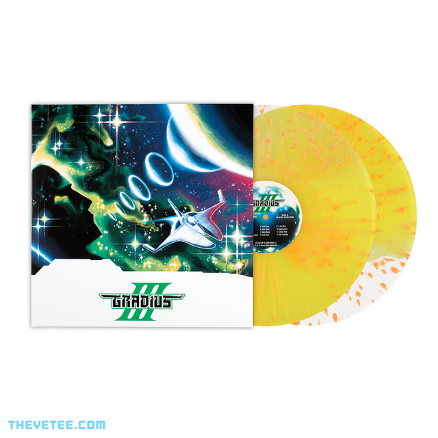 Side by side photo of the sleeve and vinyl. Vinyl is pressed on split splatter transparent yellow.  - Gradius III