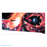 Inside artwork is a panorama of a ship flying through dark space surrounded by red nebula like shapes.  - Gradius III