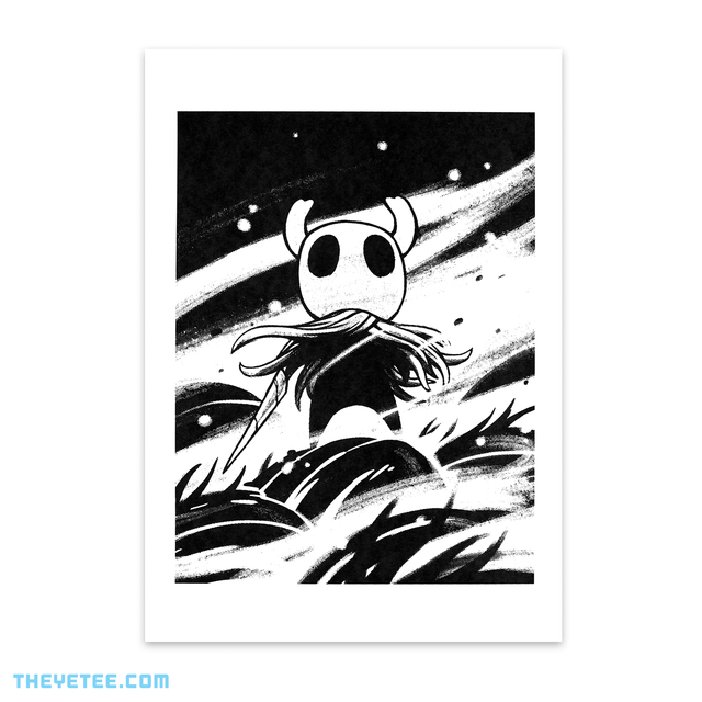 Black screen print on white cardstock of the Knight wielding the Old Nail. - Hollow Knight Screenprint 2
