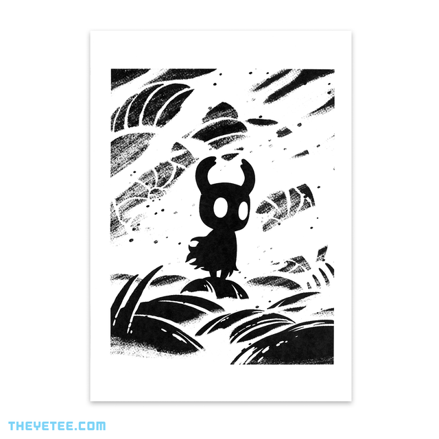 Black screen print on white cardstock of Shade. - Hollow Knight Screenprint 3