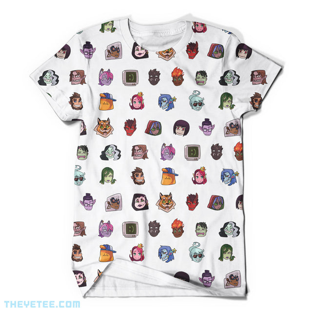 A white tee shirt with the heads of the characters in rows all along the tee. - Monster Prom All-Over Tee
