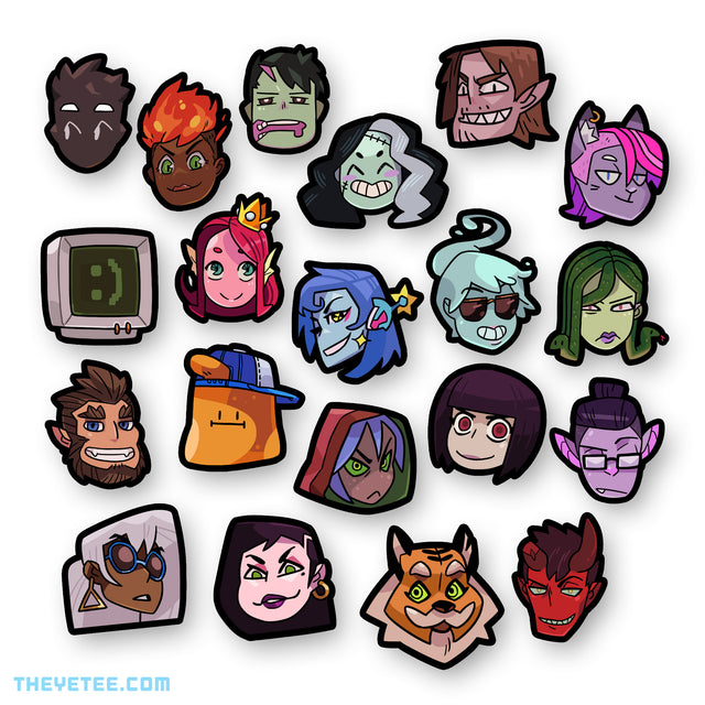 20 stickers of the heads of main Monster Prom characters. - Monster Prom Stickerpack