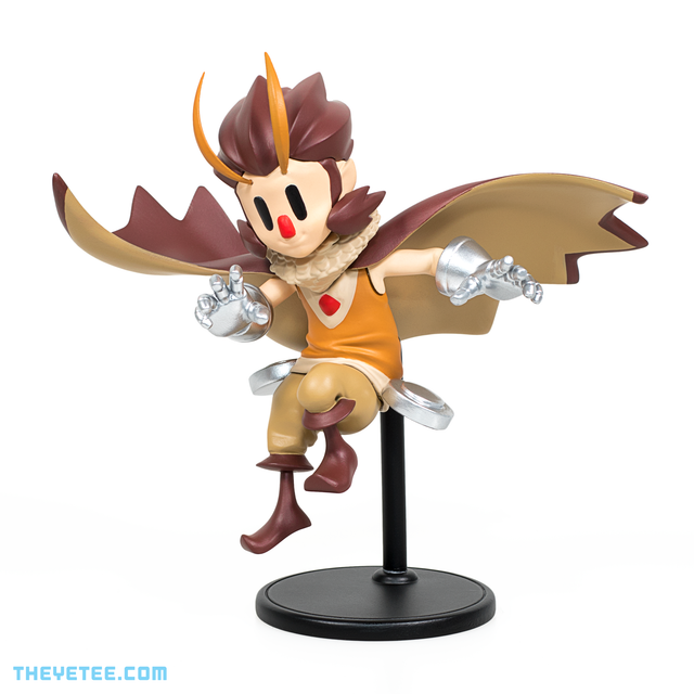 Owlboy character Otus 4 inch figurine wearing owl cloak taking flight stance fixed to stand - Owlboy's Otus Figure