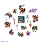"Approximately 2""+ stickers and feature pixel art of Flame, Grit, the Horseman, four individual swords, and various enemies from the game. - Panzer Paladin Sticker Pack"