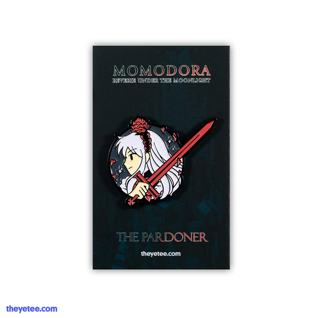 Soft emamel pin of Momodora character The Pardoner red sword in hand - The Pardoner