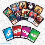 Product shot of 14 playing cards laying face up. Variety of action cards and characters.  - Super Meat Boy: Rival Rush