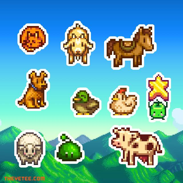 10 colorful die-cut stickers of the farm animal pals of Stardew Valley including a Junimo holding stardrop fruit - Stardew Sticker Pack #1