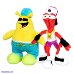 Three-legged ToeJam is wearing a gold medallion and a backwards baseball hat. Earl has sunglasses. - Toejam & Earl Large Plush Set