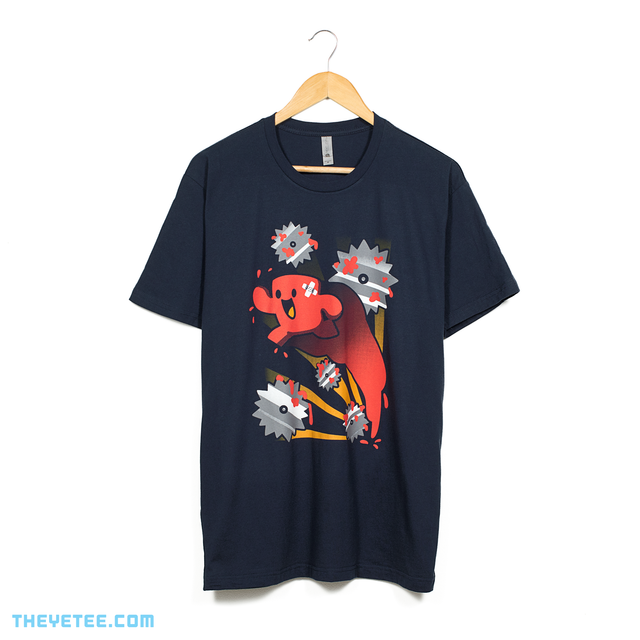 Navy tee shirt. Meatboy jumping over sawblades with yellow rays of light in the background.  - Tough Run
