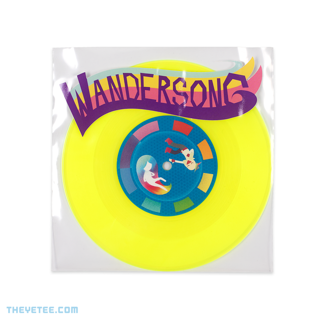 "Neon yellow wax with blue vinyl sticker showing Eyala and the bard floating with the colored music notes along the border. - Wandersong (7"")"