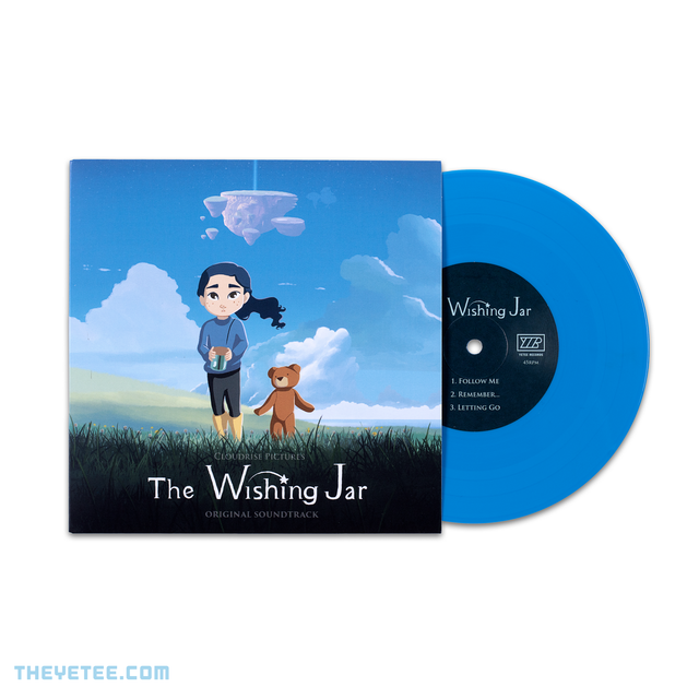 Side by side photo of the sleeve and vinyl. Vinyl is pressed on sky blue wax - The Wishing Jar Soundtrack