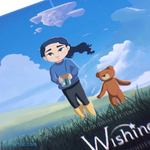 Ruby in a grassy field with Teddy Bear following close by. As she holds a jar, we see a floating island in the clouds above. - The Wishing Jar Soundtrack