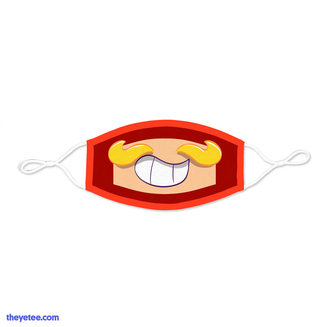 Face mask with white ear loops and white fasteners. Mustache Girl's blonde 'stache above a grinning smile with red border.  - Mustache Girl Mask