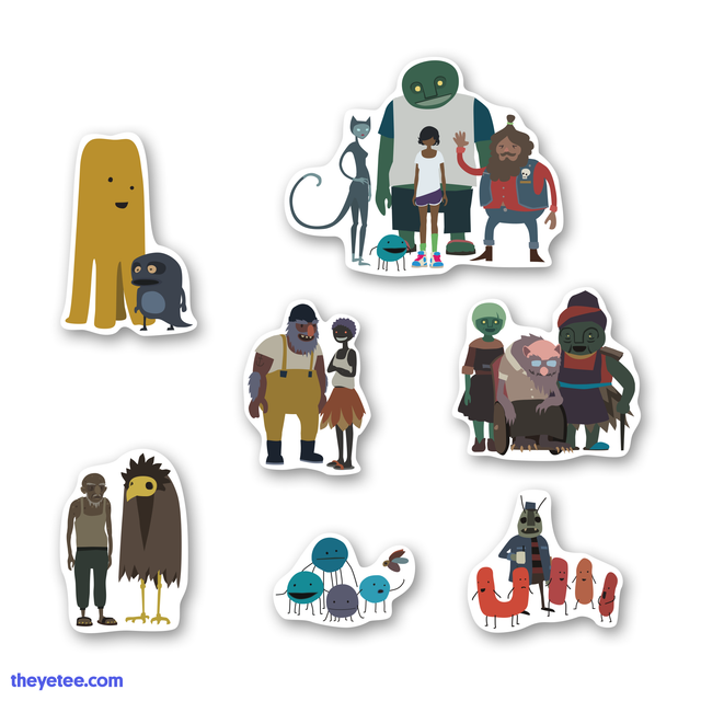 7 stickers depicting the various friends and family Kai meets on her journey to Mutazione. - Mutazione Sticker Pack #1