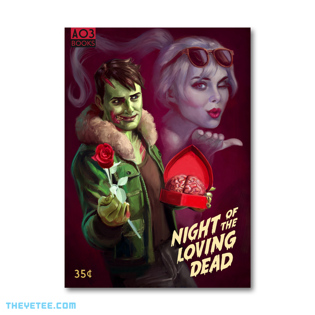 Brian holds a rose and heart shaped box with a brain inside in the foreground. Polly in the background blows a kiss. - Night of the Loving Dead