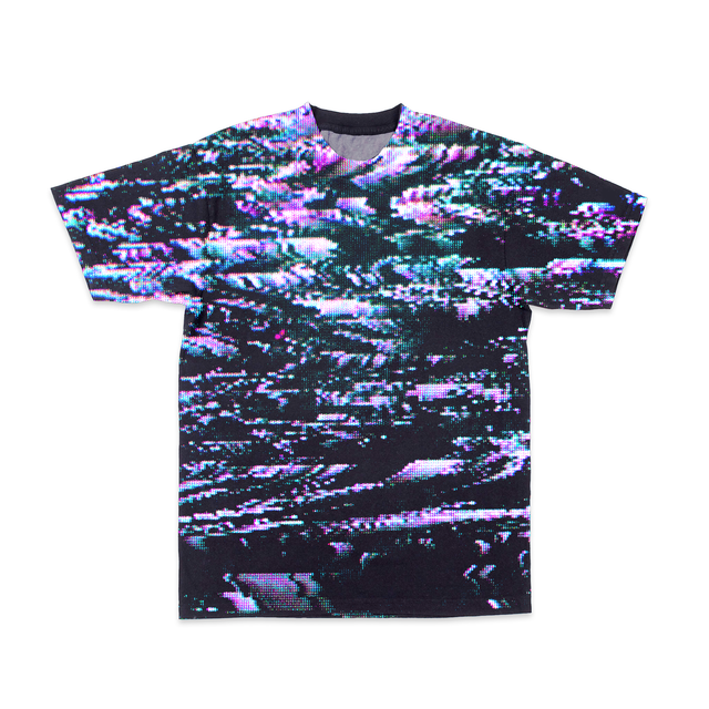 Crewneck tee shirt with all-over random dot pixel pattern of black, pink and green static. - VHS Glitch-Tee
