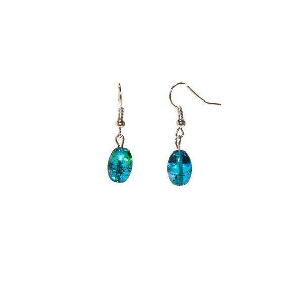 Floral Aqua Glass Earrings