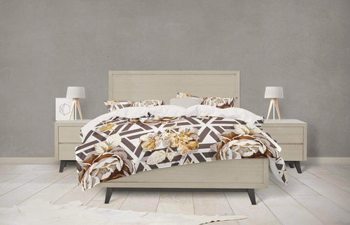Geometric Gold Peonies Floral Bedding