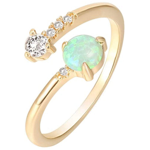 14K Gold Plated Adjustable Created Opal Ring