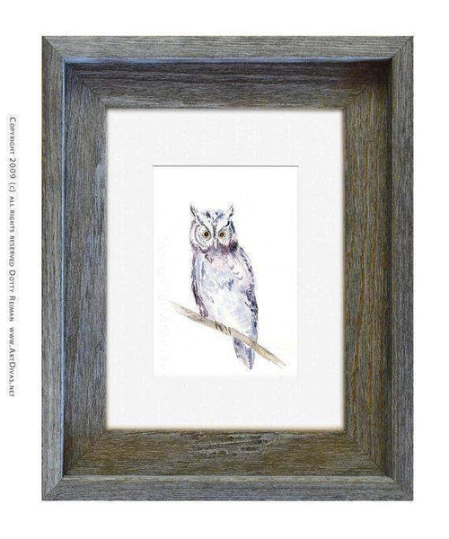 """Hoot"" Watercolor Owl Art Print by Dotty Reiman"
