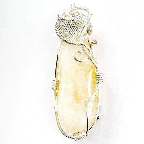 Citrine  Handmade Mixed Metal  Wire Wrapped Mens Pendant Necklace
