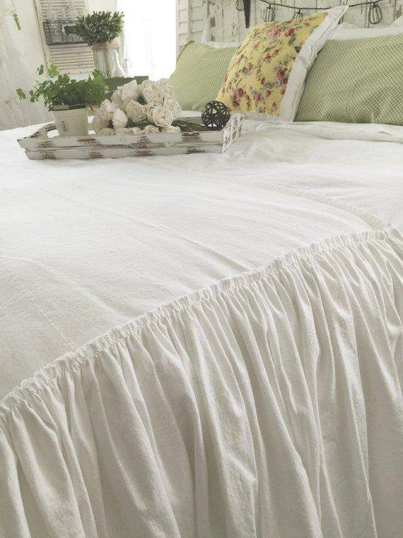 Ruffled Bed Scarf Cover Linens