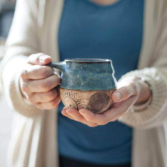 Cozy Fireside Blue Ceramic Coffee Mug