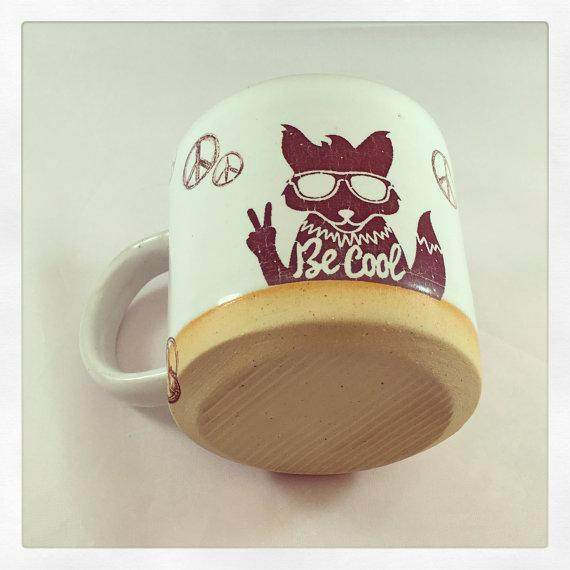 Be Cool Stay Cool Fox & Rabbit peace mug