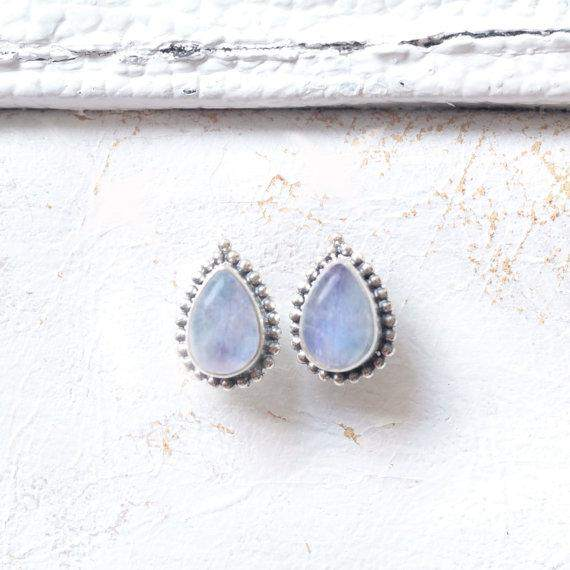 Moonstone Teardrop Stud Rainbow Earrings