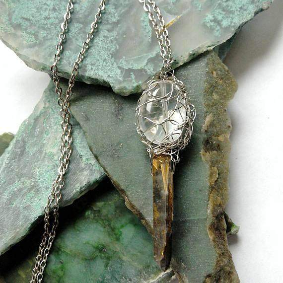 Gold Wire Wrapped Pendant Quartz Mens Crystal Pendulum Crystal Necklace