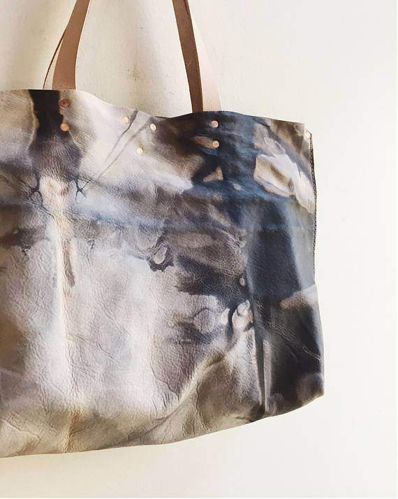 Hand Dryed Leather Tote Bag