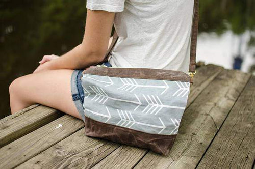 Gray Arrow Waxed Canvas Purse