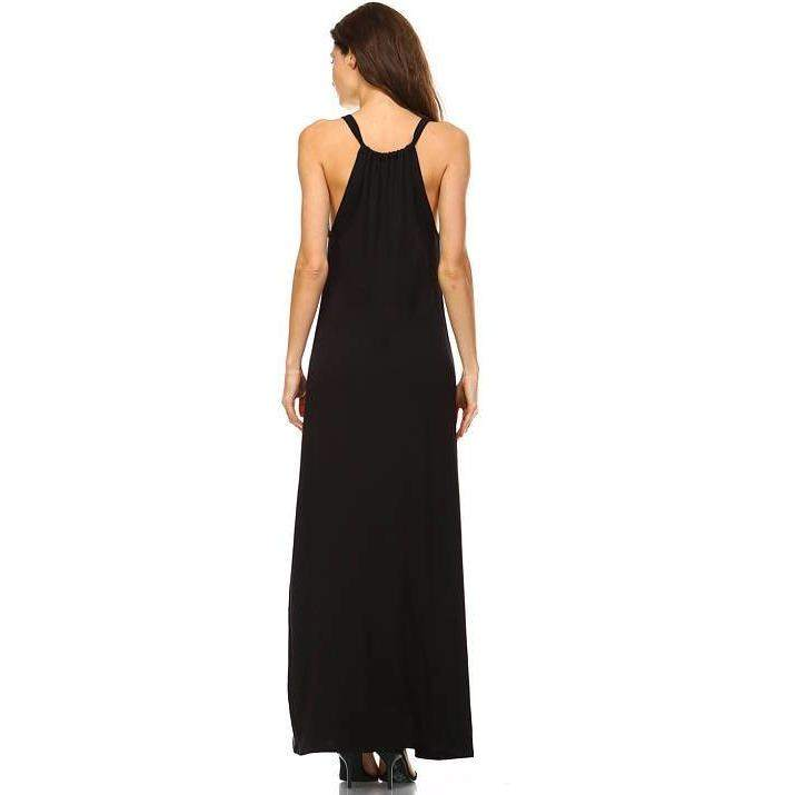 Womens Black Sleeveless Summer Maxi Dress