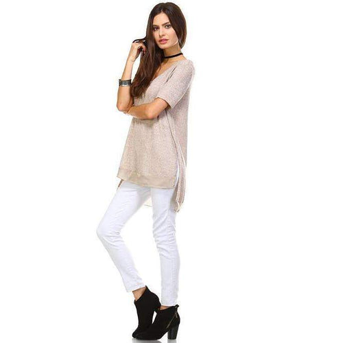Womens Tan Side Slit V Neck Top Size S M L XL
