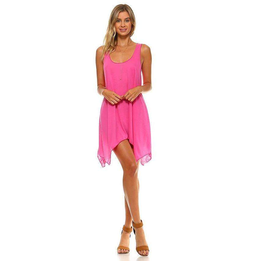 Womens Pink Coral Swing Loose Dress