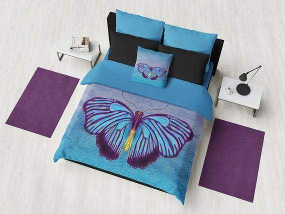 Blue Butterfly Duvet Cover and Comforter