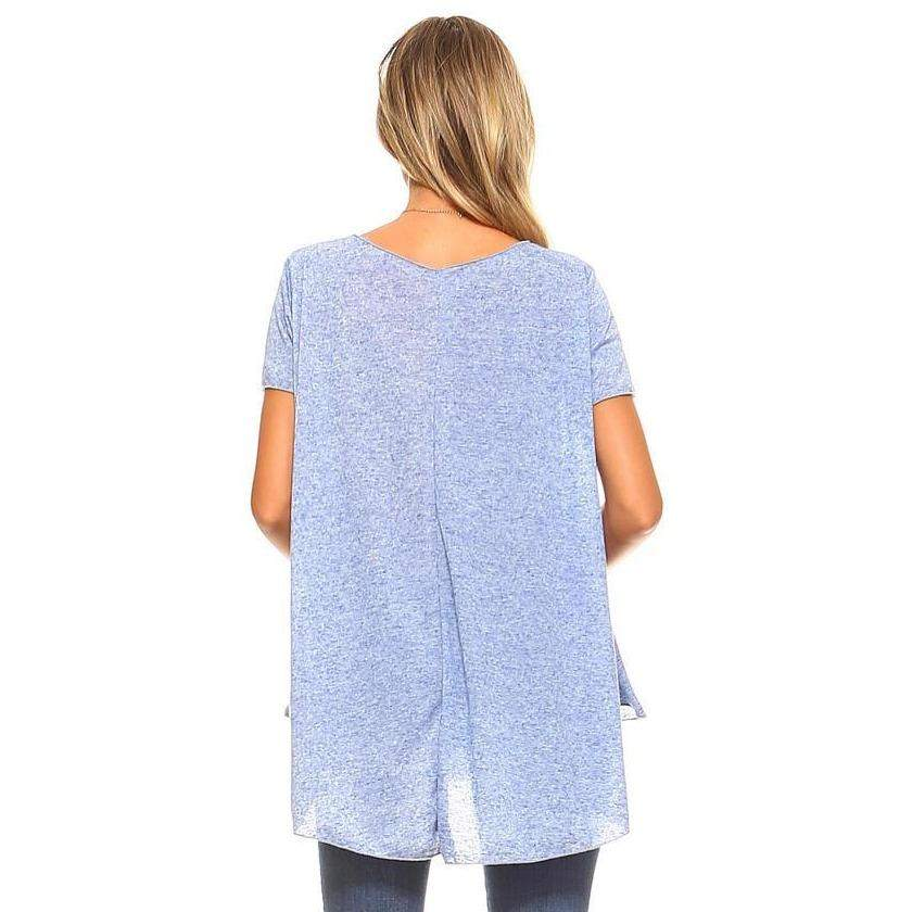 Womens Blue Melange Short Sleeve Swing Top