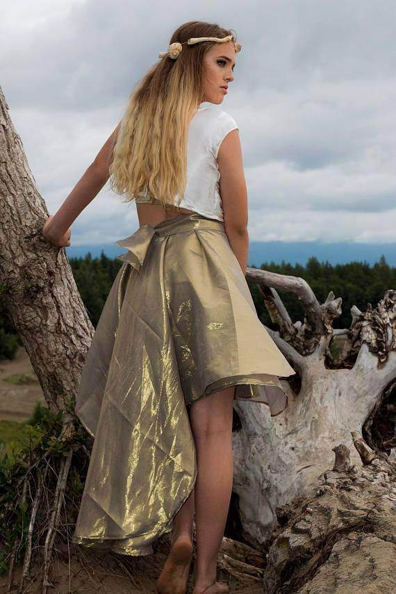 Hi Low Evening Skirt in Silk Gold Lame