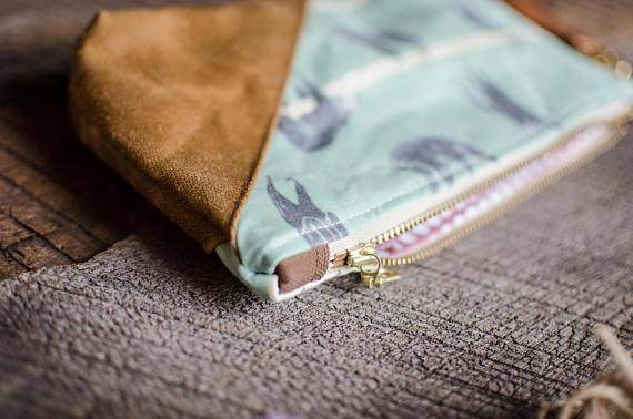 SLOTH waxed canvas pouch bag