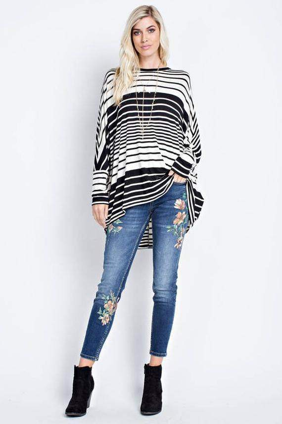 Striped Jersey Style Top