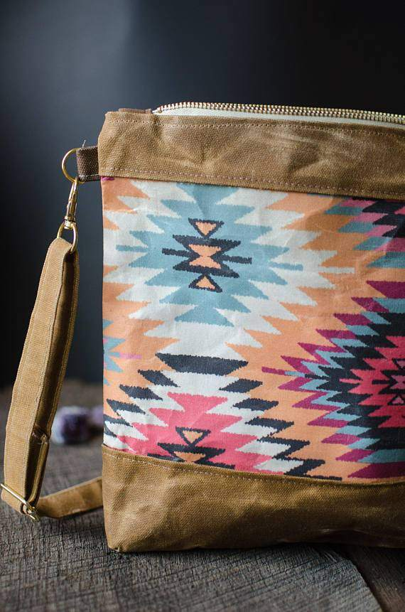 Waxed Cotton Canvas Crossbody Bag