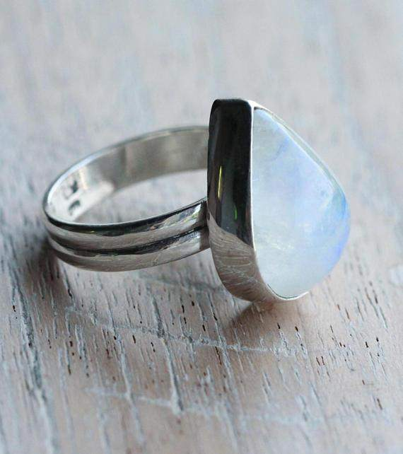 Rainbow Moonstone Teardrop Ring