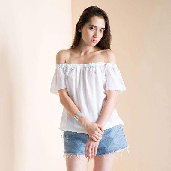Women's Off the shoulder top white silk boho top