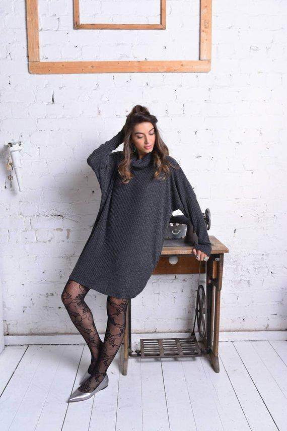 Long Sleeve Black Winter Dress